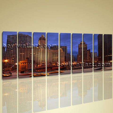 Xxl Large Framed Contemporary Landscape Wall Art Print Canvas Chicago At Night