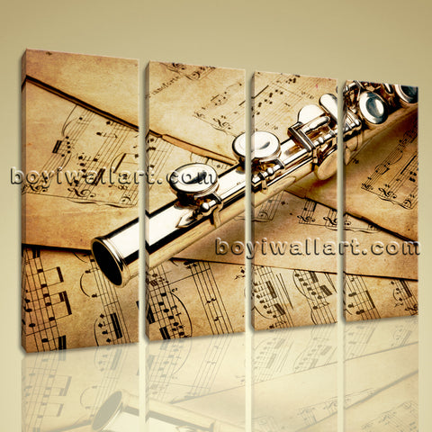Large Stretched Contemporary Wall Art Print Canvas Home Room Decor Flute Stave