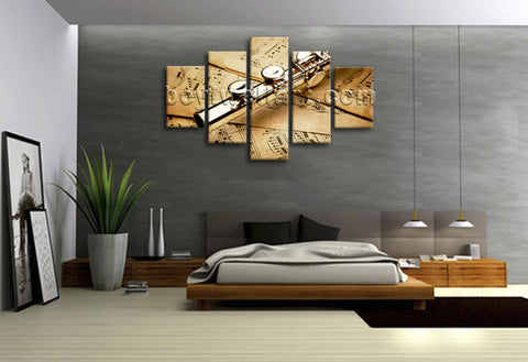 Large 5 Panels Contemporary Wall Art Print On Canvas Home Room Decor Flute Stave