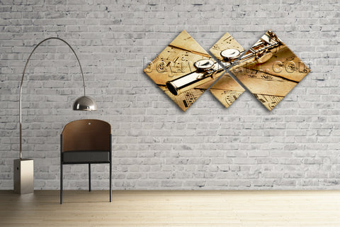 Large Size Contemporary Wall Art Print On Canvas Home Room Decor Flute Stave