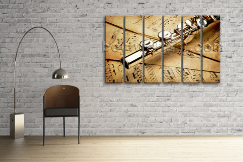 Large Living Room Contemporary Wall Art Print On Canvas Home Decor Flute Stave