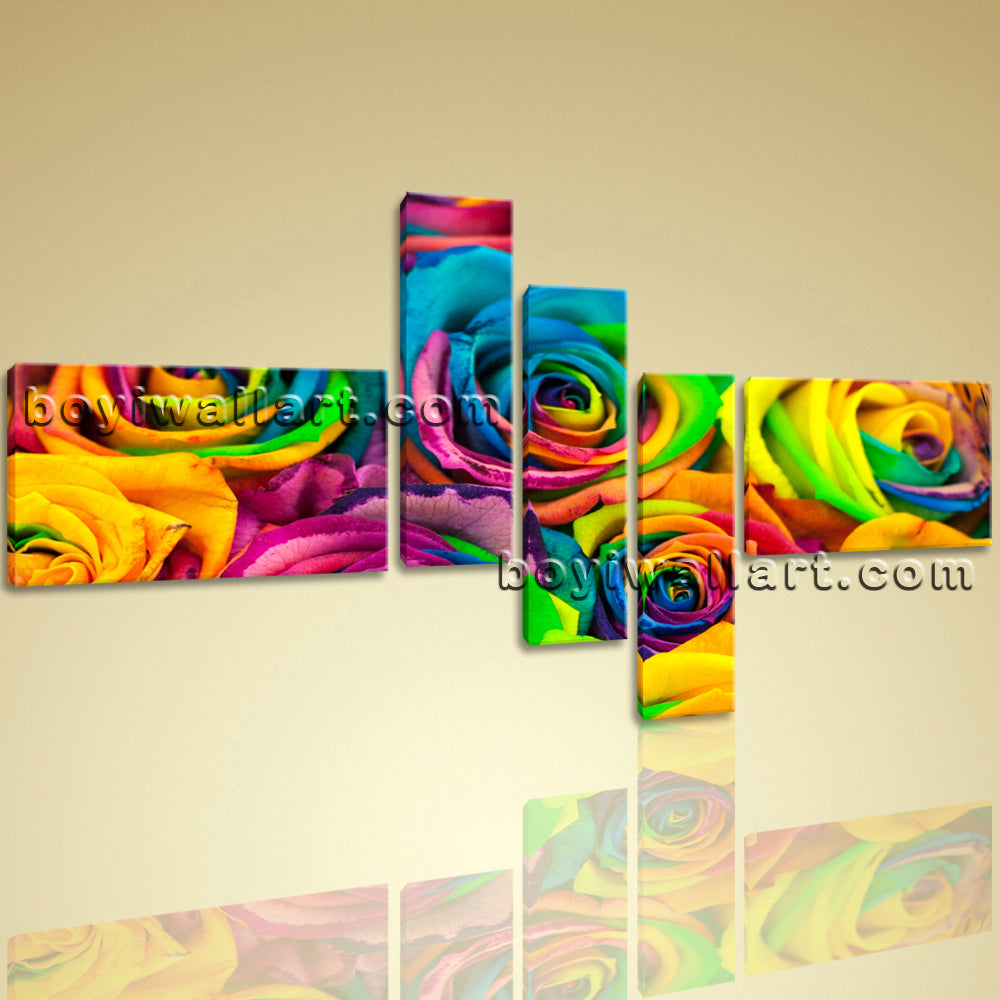 Large Contemporary Canvas Print Colorful Wall Art Abstract Floral ...