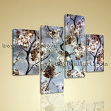 Large Floral Print Flower Wall Art Painting Living Room Four Pieces Giclee