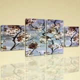 Large Floral Print Flower Picture Wall Decor Dining Room Tetraptych Pieces