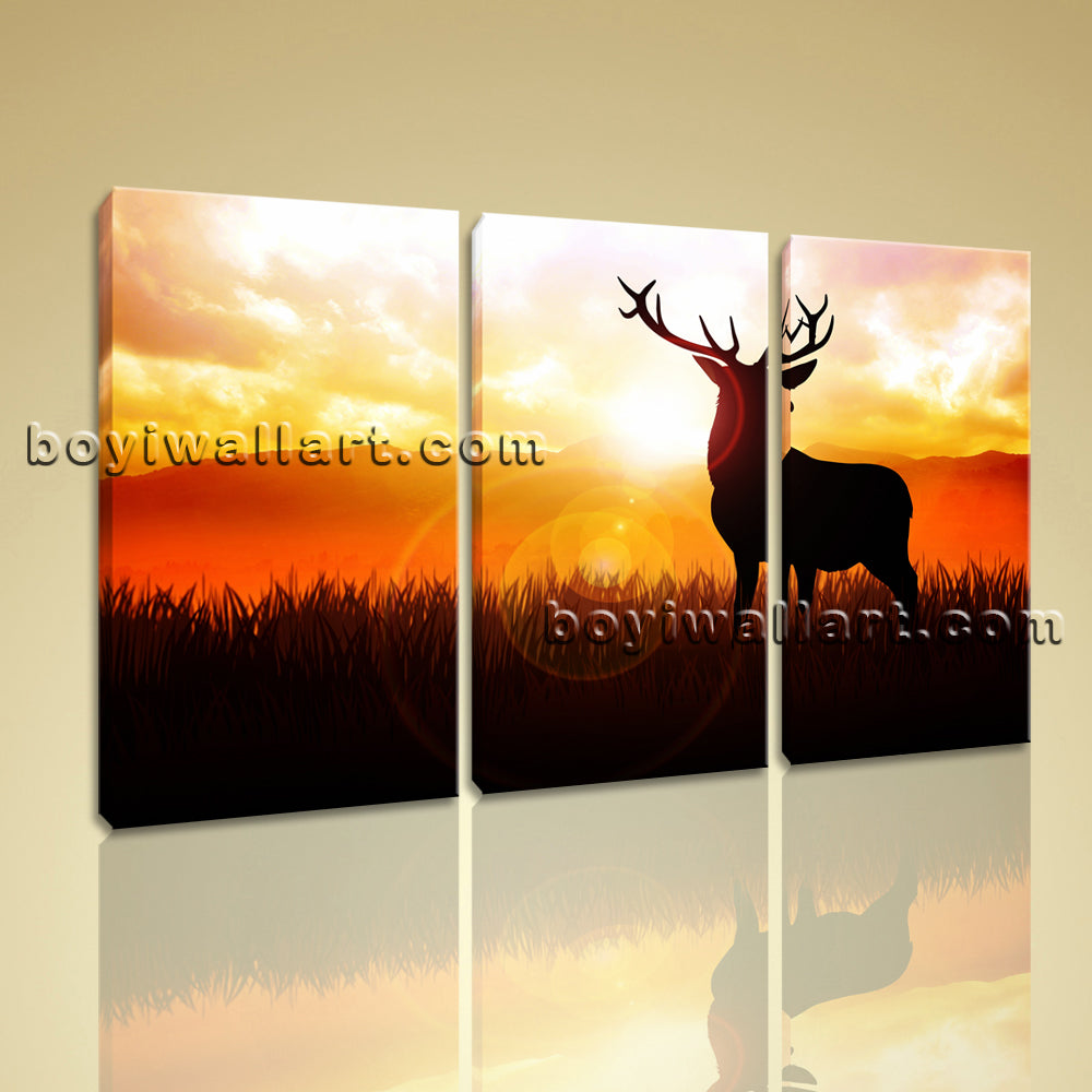 Large Deer Silhouette Animal Contemporary Print On Canvas Wall Art BedRoom