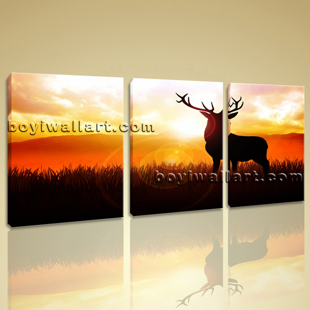 Large Deer Sunrise Animal Contemporary Painting Printed On Canvas Living Room