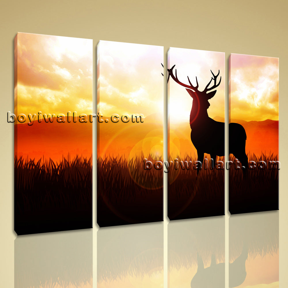 Large Deer Silhouette Animal Contemporary On Canvas Print Artwork Living Room