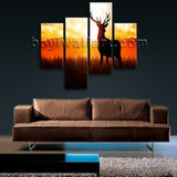 Large Deer Sunrise Canvas Art Painting Living Room Four Panels Print