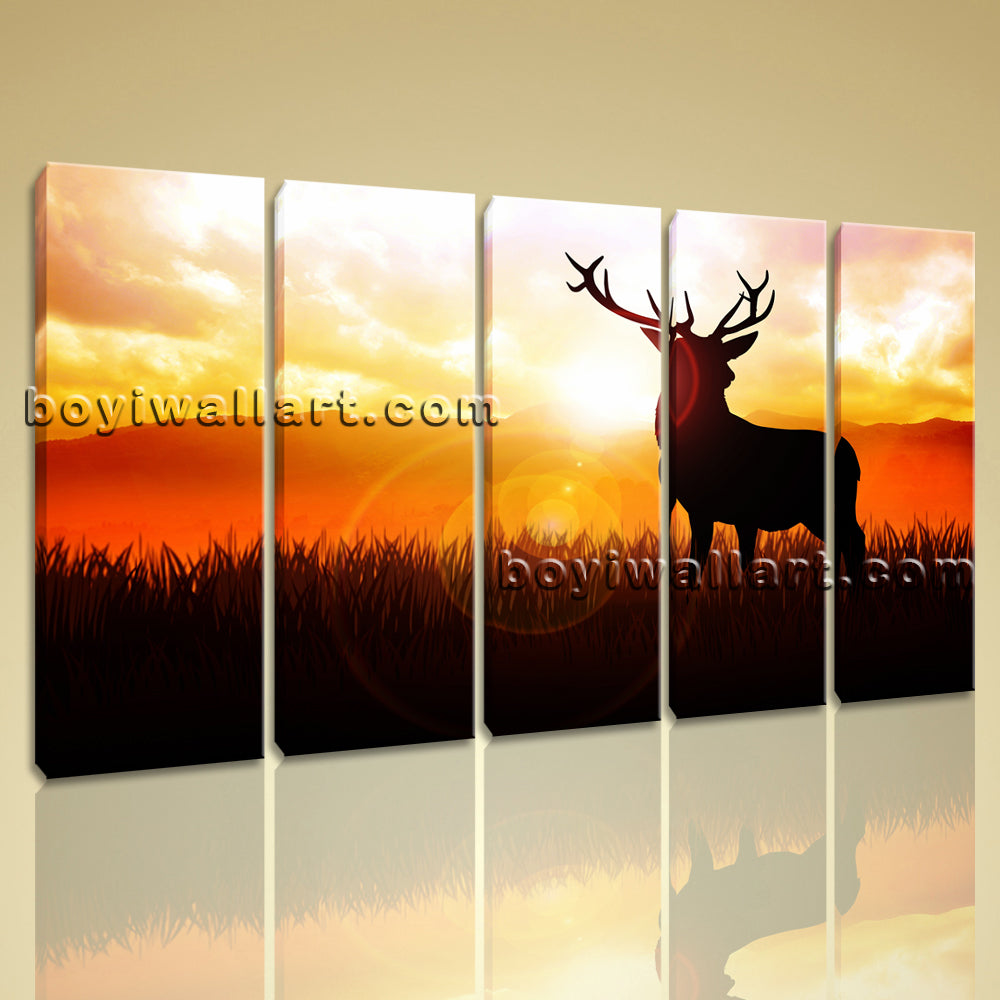 Large Deer Silhouette Animal Contemporary On Canvas Print Wall Art Dining Room