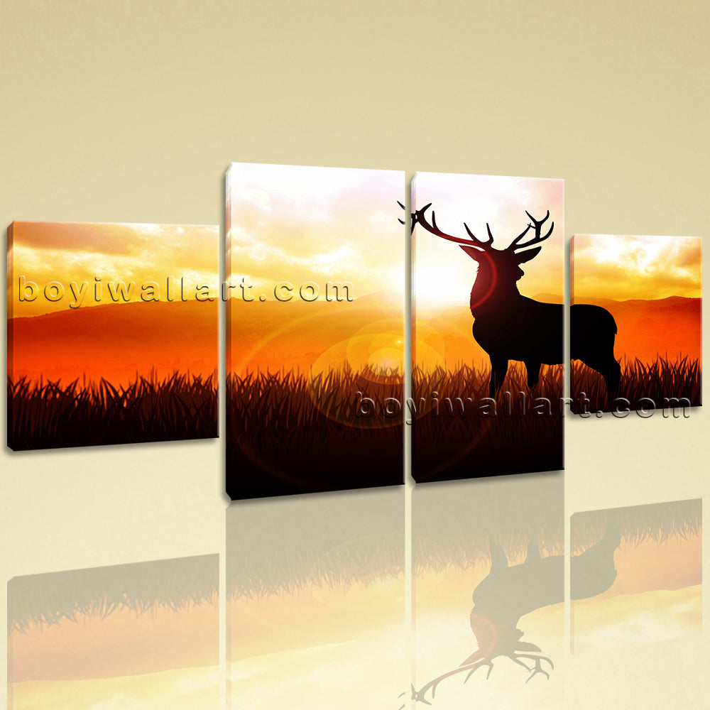 Large Deer Sunrise Print Painting Dining Room Tetraptych Panels Giclee