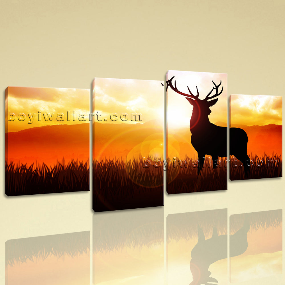 Large Deer Sunrise Silhouette Animal Contemporary Canvas Print Wall Living Room