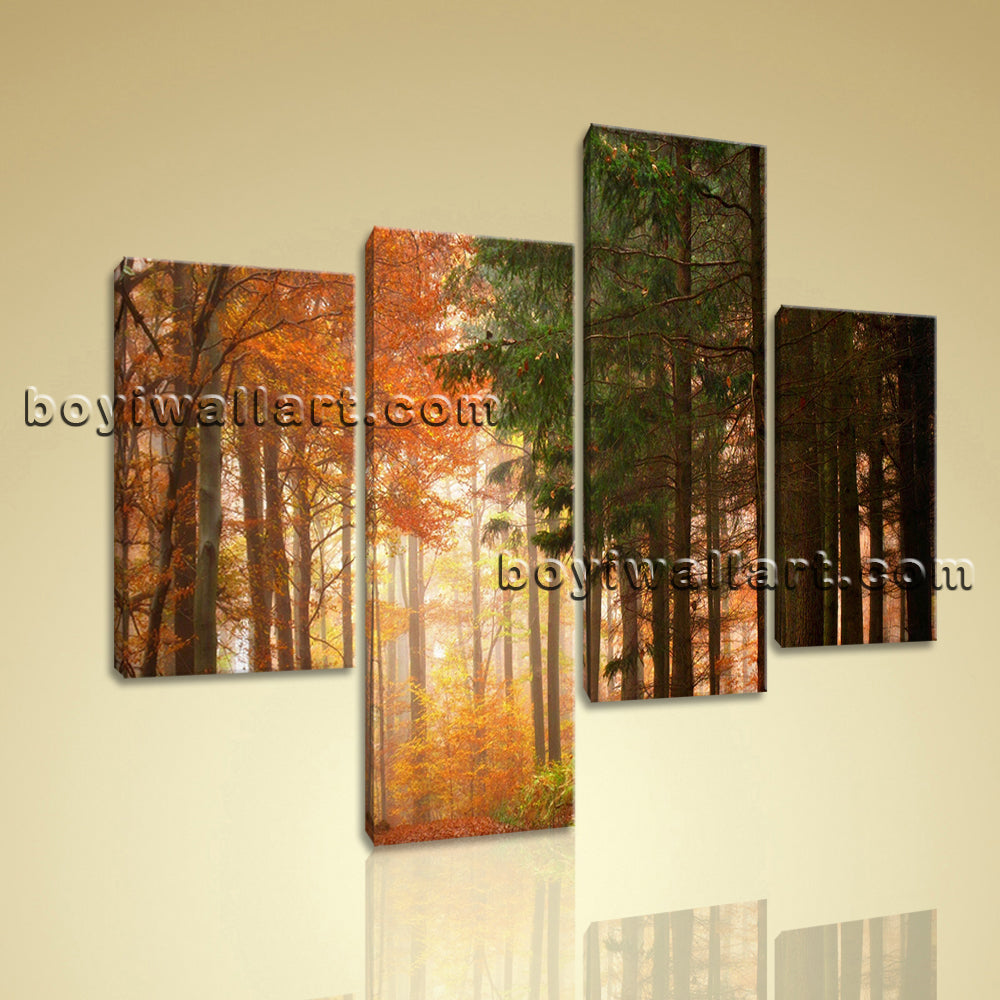 Large Deciduous Forest Autumn Wall Decor Living Room Tetraptych Pieces print