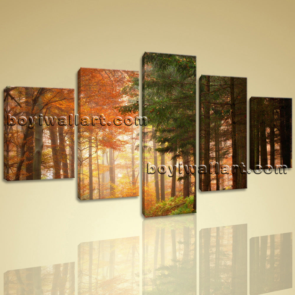 Large Deciduous Forest Autumn Landscape Contemporary Painting Printed On Canvas