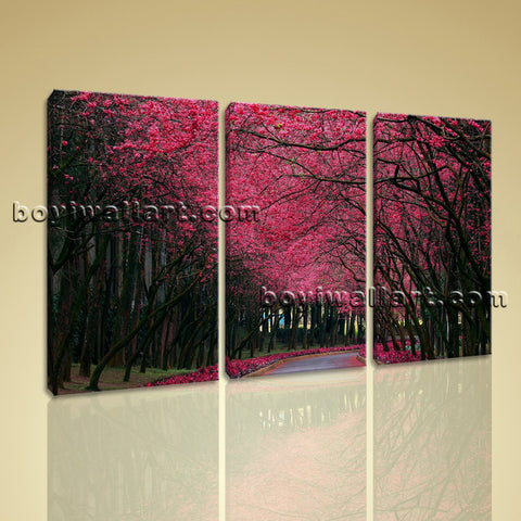 Large Pink Cherry Blossom Trees Landscape Contemporary Canvas Wall Art BedRoom