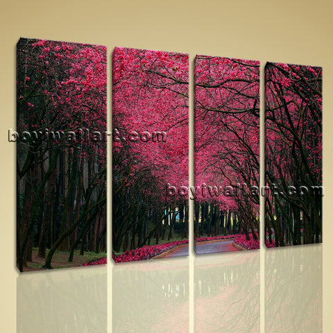 Large Pink Cherry Blossom Trees Landscape Contemporary Home Decor Wall Art Print