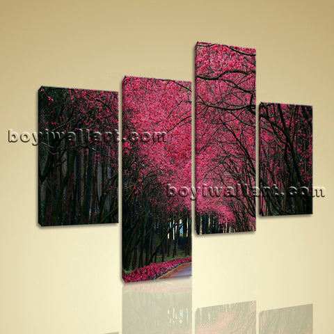 Large Pink Cherry Blossom Trees Forest Print Living Room 4 Panels Canvas