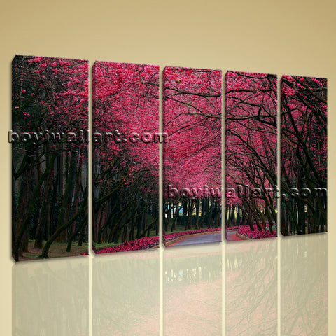 Large Pink Cherry Blossom Trees Landscape Contemporary On Canvas Wall Art Decor
