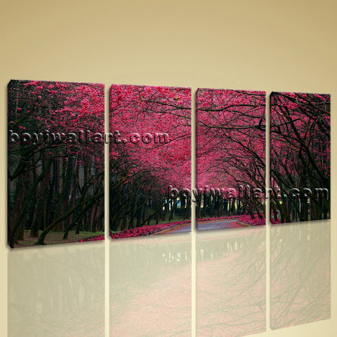 Large Pink Cherry Blossom Trees Landscape Contemporary Wall Art Print On Canvas