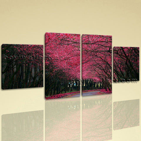Large Pink Cherry Blossom Trees Forest Dining Room Tetraptych Pieces print