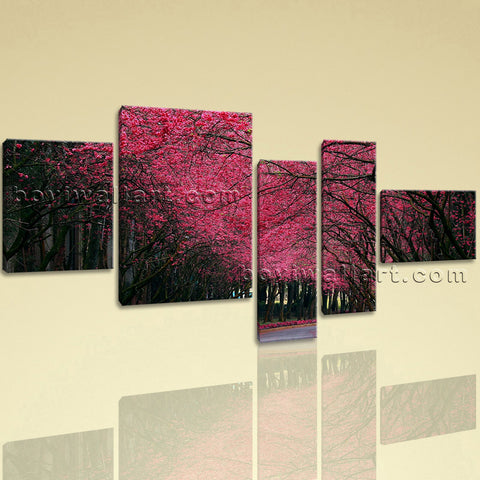 Large Pink Cherry Blossom Trees Forest Wall Art Bedroom 5 Pieces Canvas Print