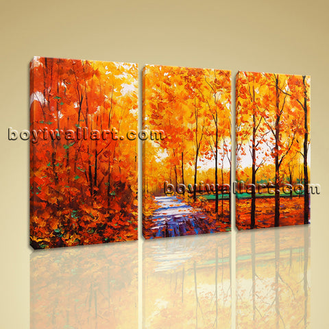 Large Autumn River Landscape Contemporary On Canvas Art HD Giclee Print BedRoom
