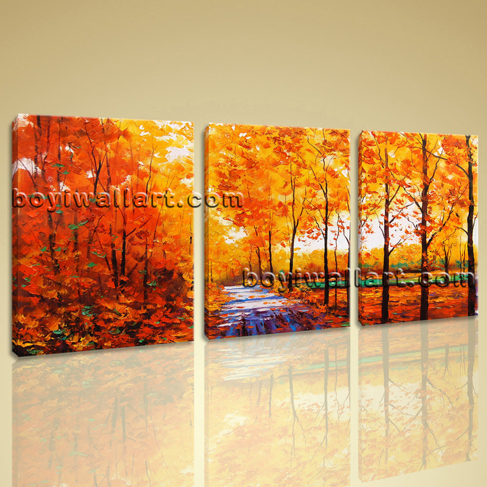 Large Autumn River Landscape Contemporary On Canvas Wall Art Living Room