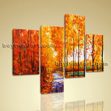 Large Autumn River Painting Forest Wall Art Living Room Four Panels Giclee Print