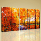 Large Autumn River Landscape Contemporary On Canvas Wall Art Dining Room