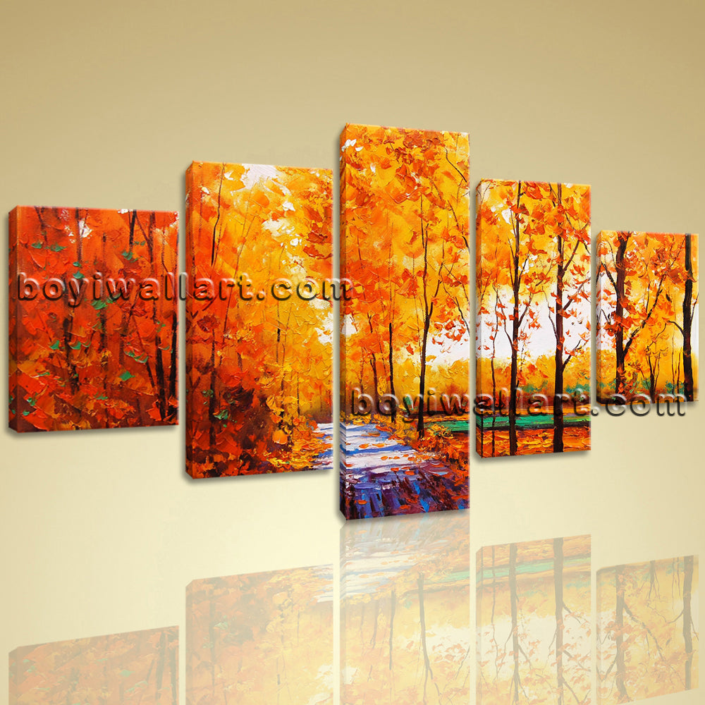 Large Autumn River Landscape Contemporary Print On Canvas Wall Art Dining Room