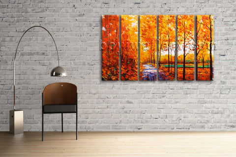 Large Autumn River Landscape Contemporary On Canvas Print Wall Living Room