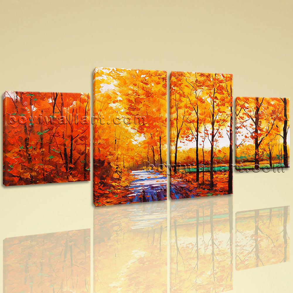 Large Autumn River Painting Forest Wall Decor Dining Room Four Pieces Art Print