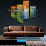 Large Autumn painting Forest Wall Decor Living Room Four Pieces Print