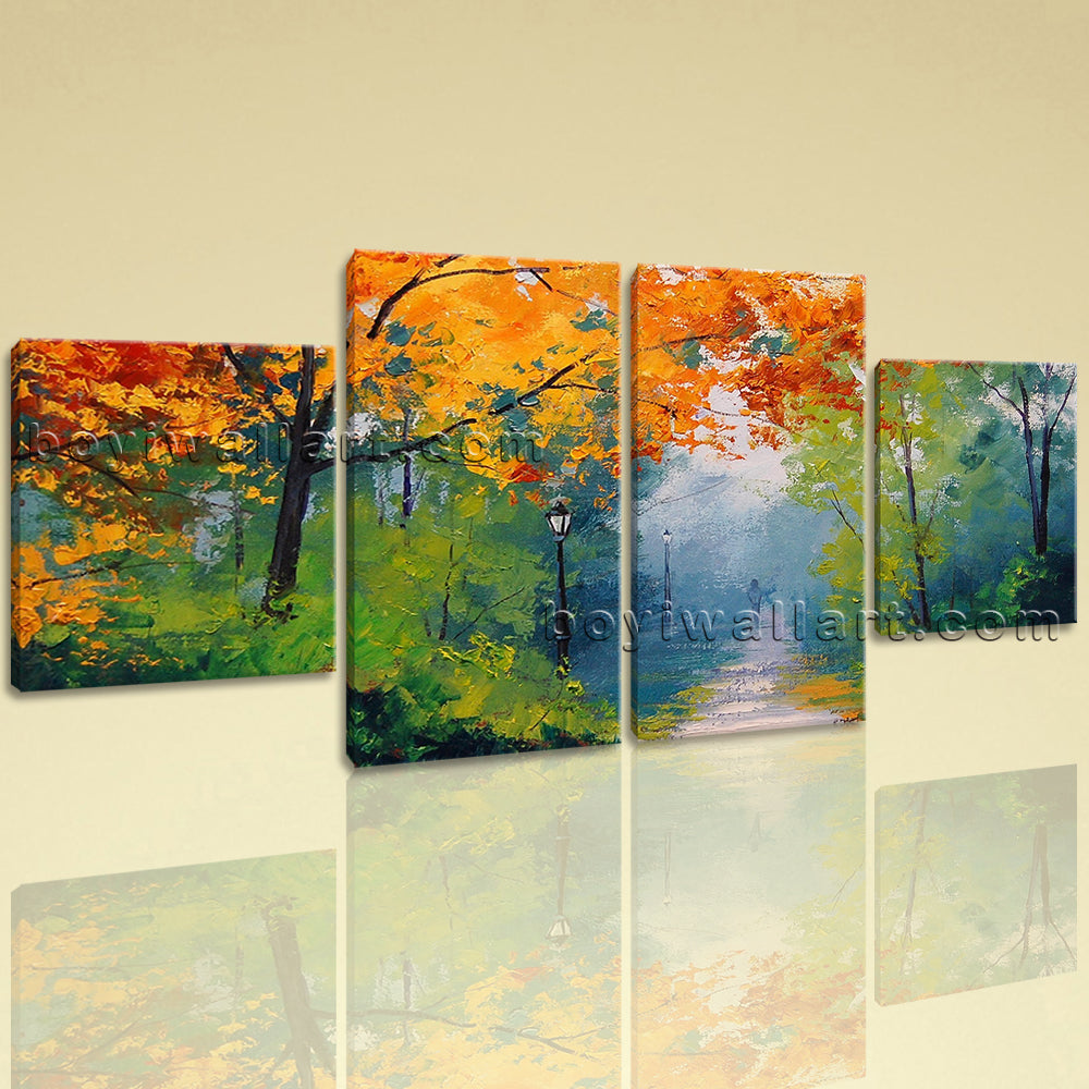 Large Autumn painting Forest Picture Wall Dining Room 4 Pieces Canvas Print