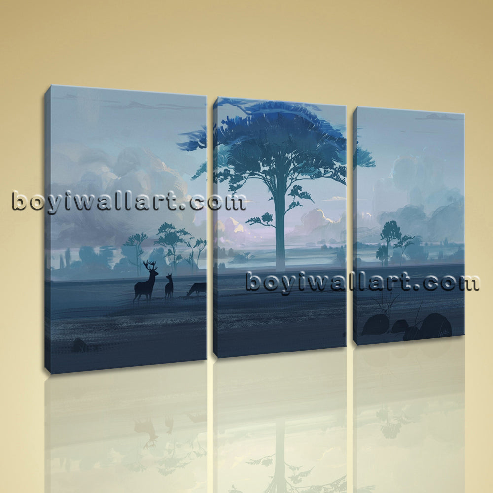 Large Artistic Landscape Contemporary On Canvas Print Wall Art Triptych Pieces