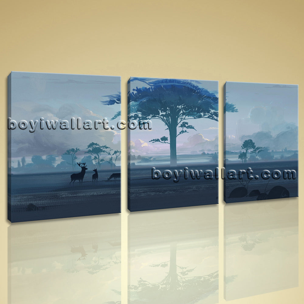 Large Artistic Landscape Contemporary On Canvas Art Print Living Room 1 Panels