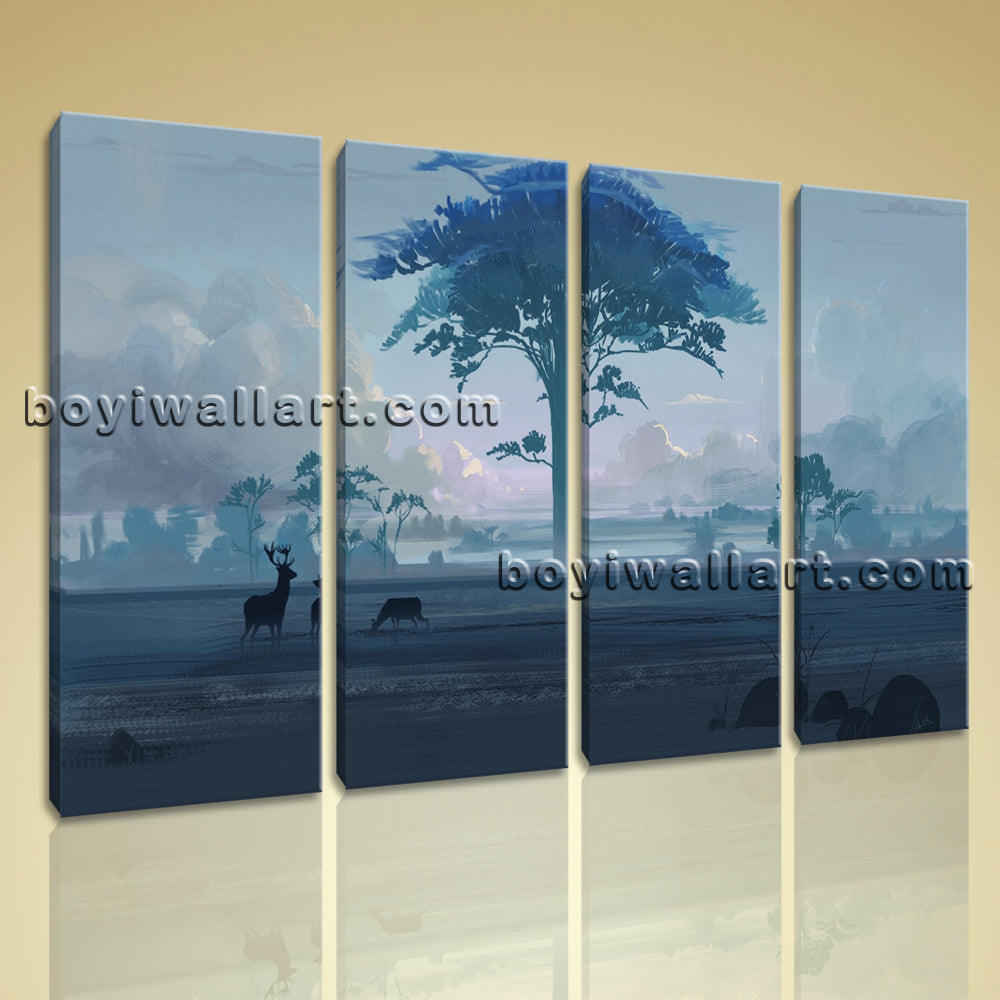 Large Artistic Landscape Contemporary Wall Art Giclee Print Living Room 4 Pieces