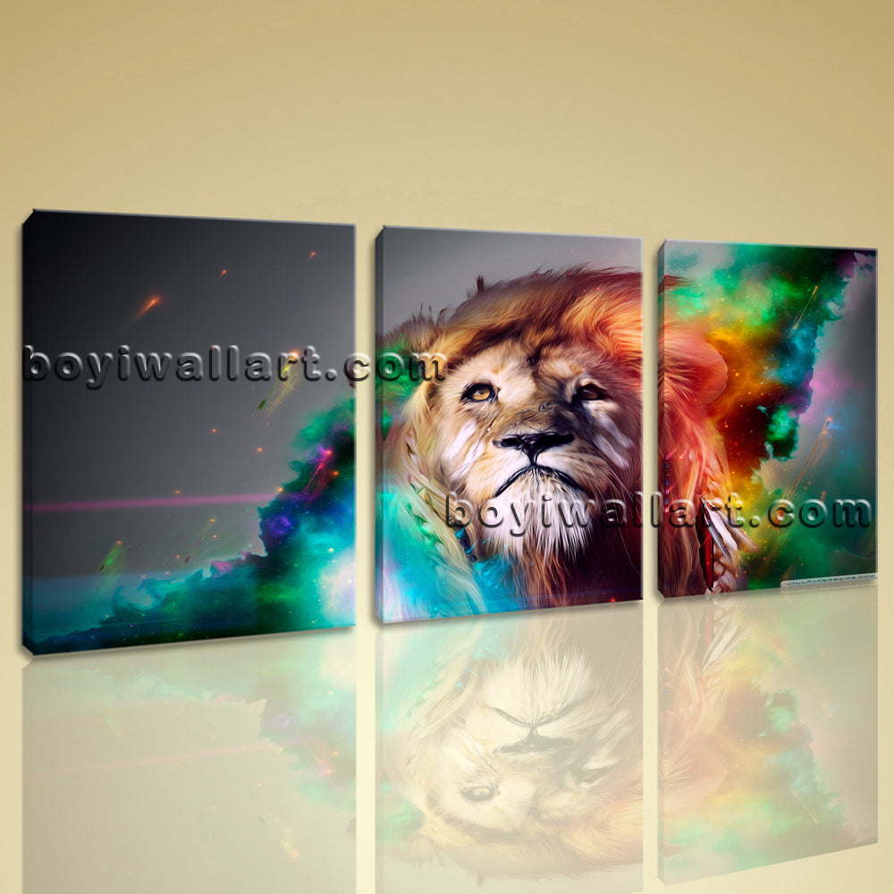 Large Colorful Lion Head Animal Abstract Canvas Art Print Home Decor Living Room