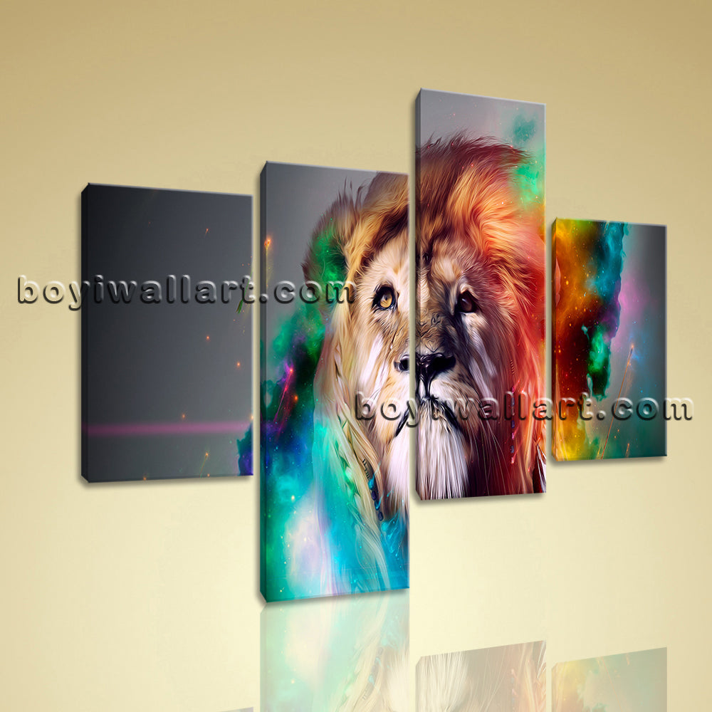 Large Colorful Lion Head Hd Print Abstract Home Decor Living Room 4 Pieces