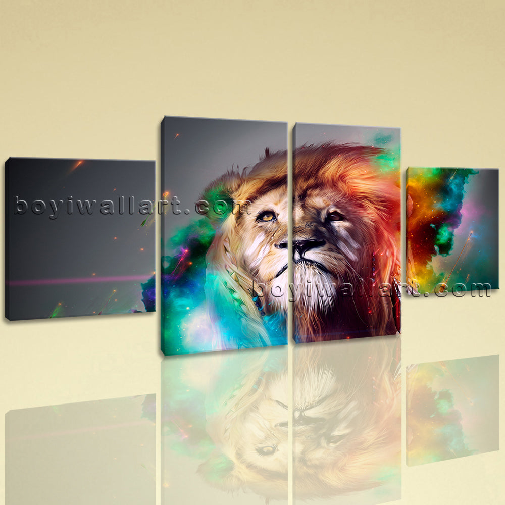Large Colorful Lion Head Canvas Art Abstract Painting Dining Room 4 Pieces Print