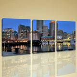 Large Boston Skyline Cityscape Photography Canvas Print Wall Decor Living Room