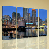 Large Boston Skyline Cityscape Wall Art HD Giclee Printed On Canvas Living Room