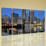 Large Boston At Night Cityscape Photography On Canvas Print Decorative Wall Art