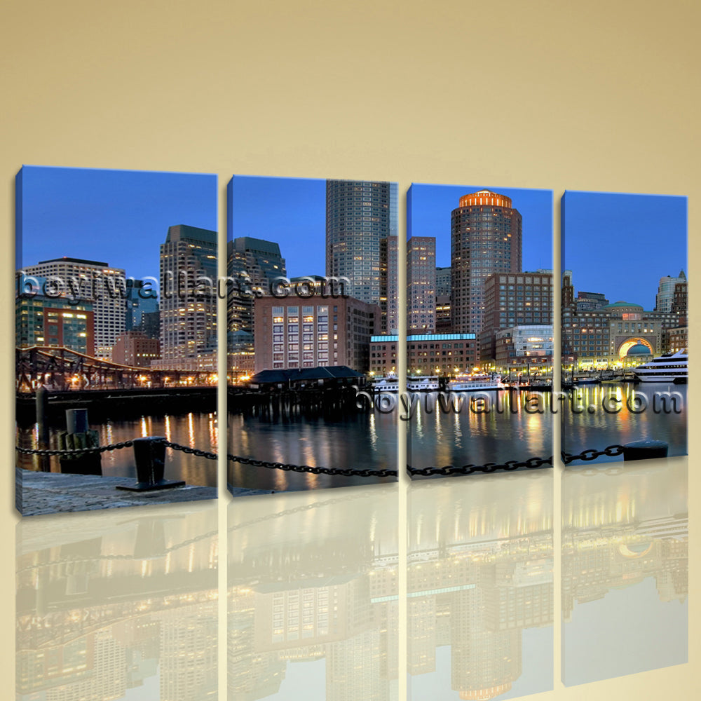 Large Boston At Night Cityscape Wall Art On Canvas Print Home Decor BedRoom