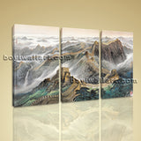 Large Great Wall Of China Landscape Abstract On Canvas Print Triptych Pieces