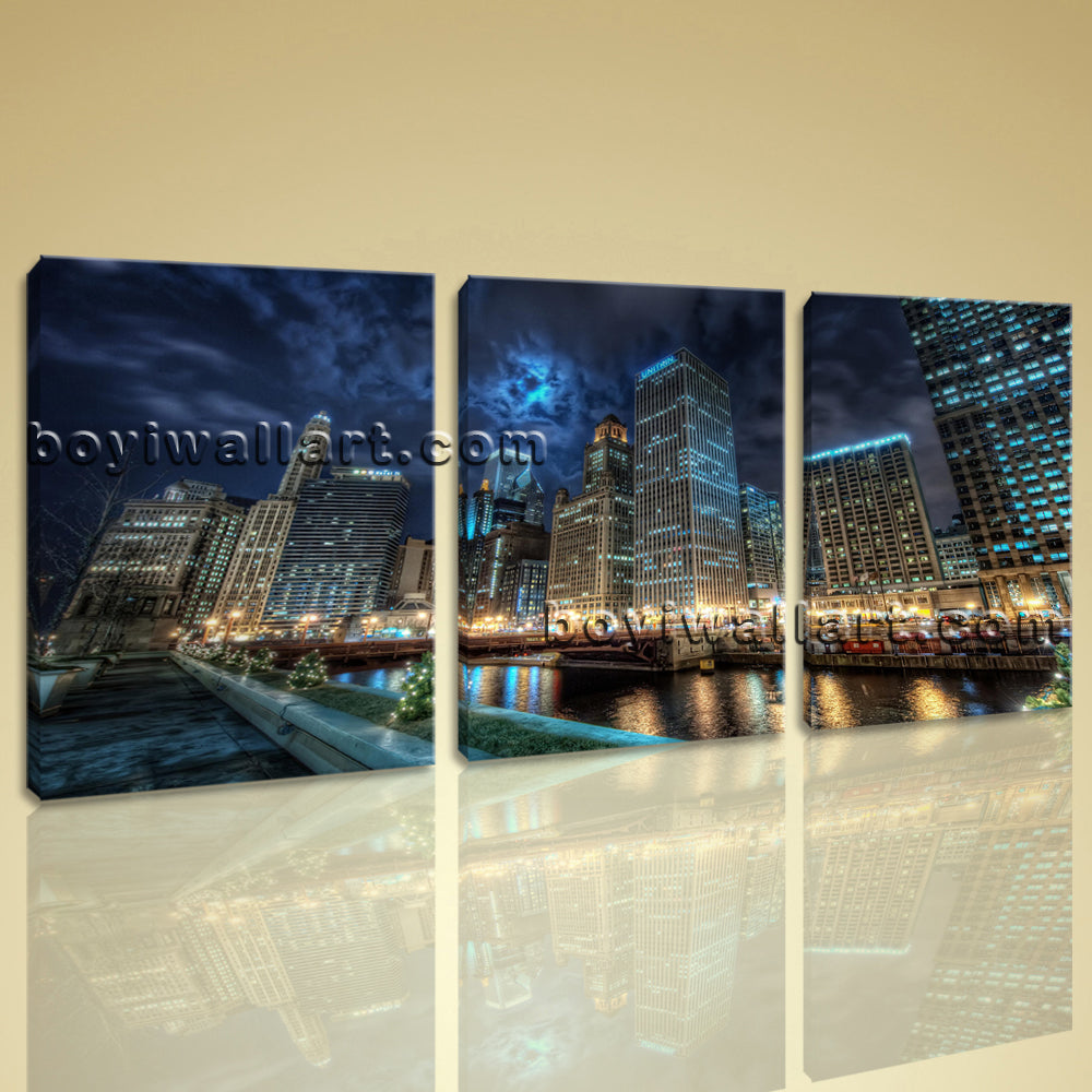 Large Chicago Downtown At Night Cityscape On Canvas HD Giclee Print Wall Art