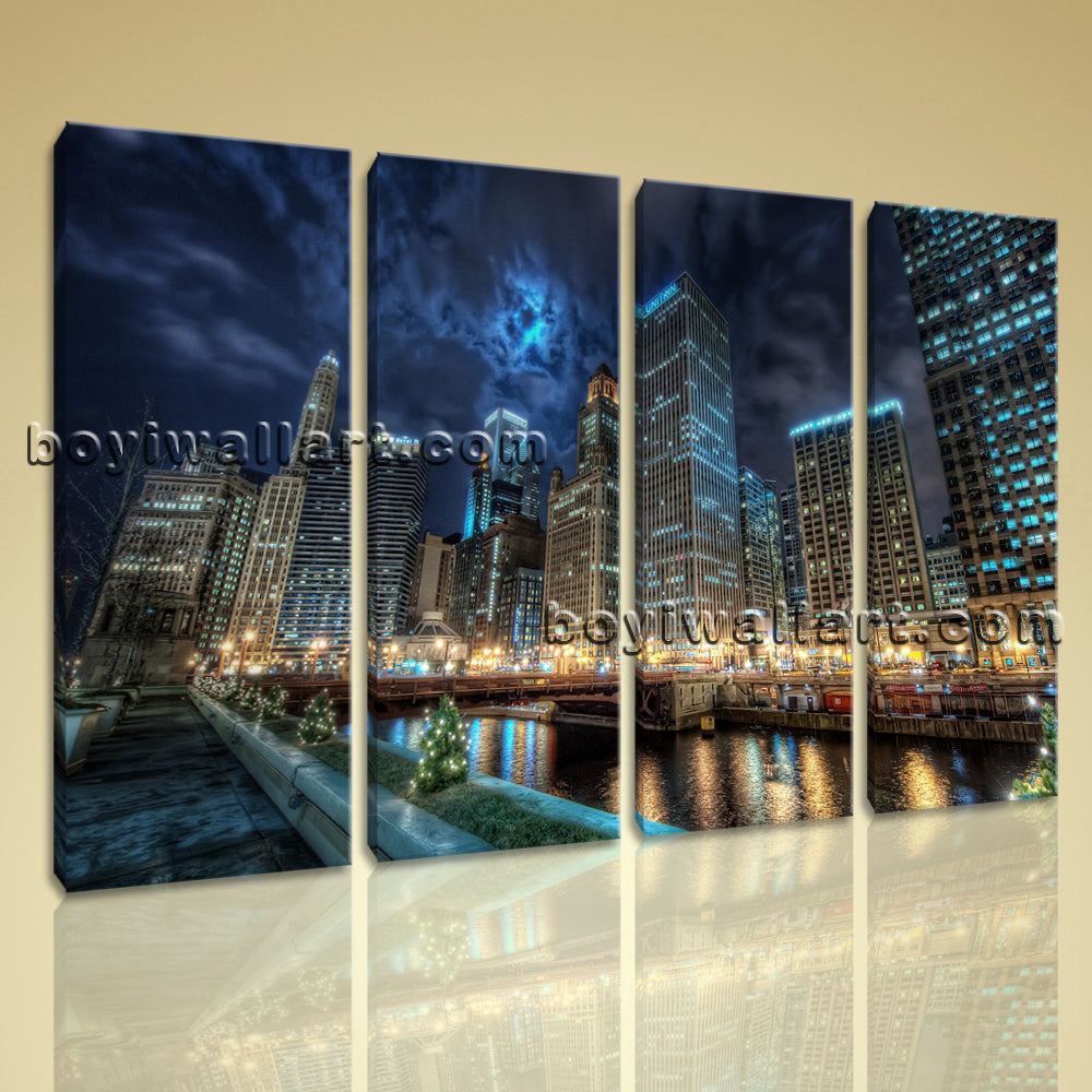 Large Chicago Skyline Cityscape Photography On Canvas Wall Art Print Four Panels