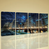 Large Chicago At Night Cityscape Wall Art On Canvas Print Home Decor BedRoom