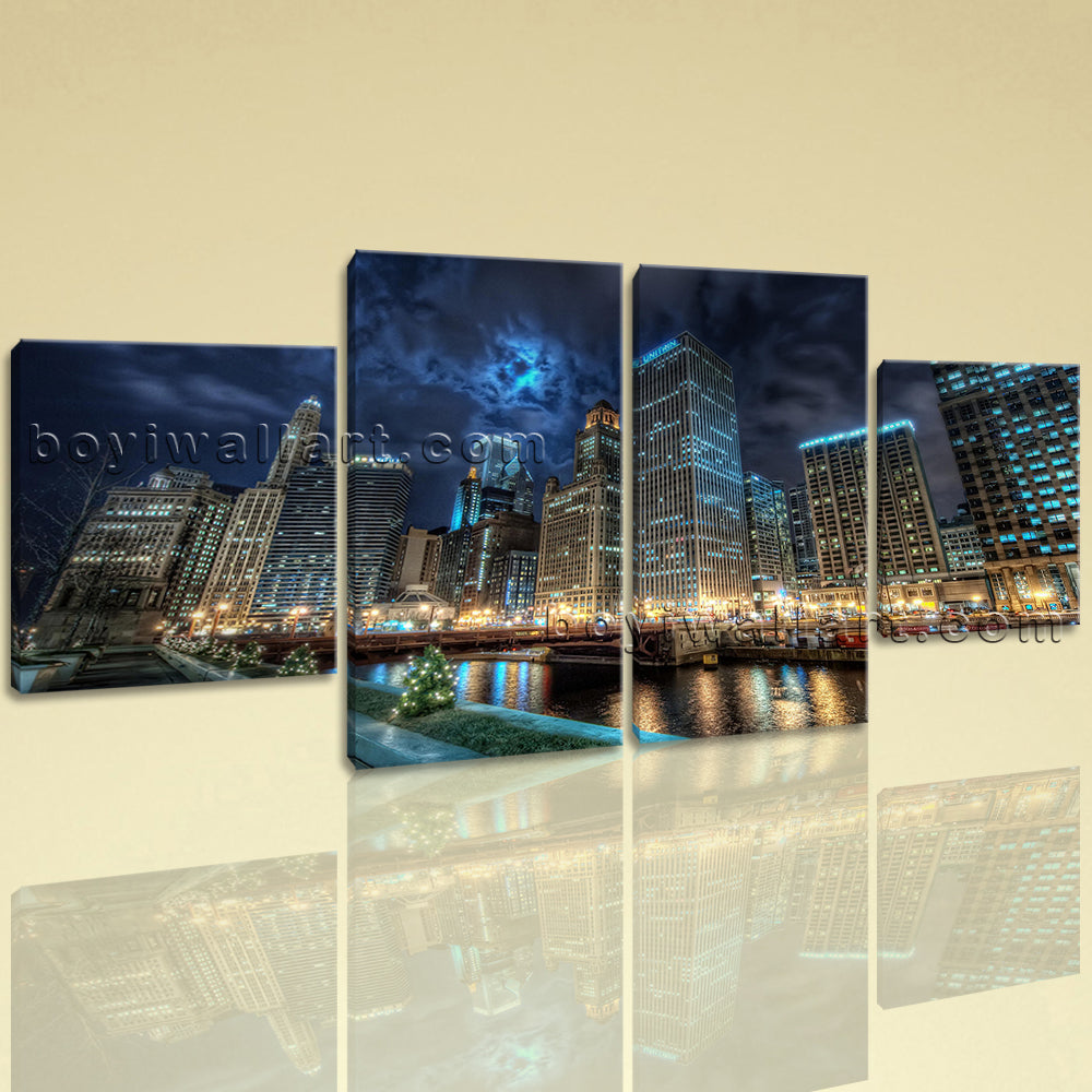 Large Chicago Downtown At Night Hd Print Canvas Art Tetraptych Panels