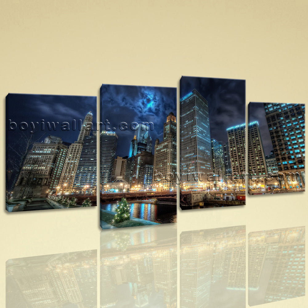 Large Chicago Skyline Cityscape Photography On Canvas Print Decorative Wall Art