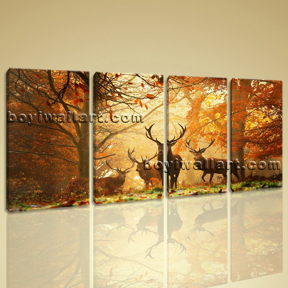 Large Deer Autumn Woods Animal Contemporary Wall Art Print On Canvas Four Panels